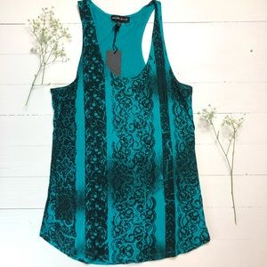 NWT Silver Jeans Teal and Black Tank top Size XL